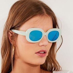 Chunky square plastic retro mint green sunglasses